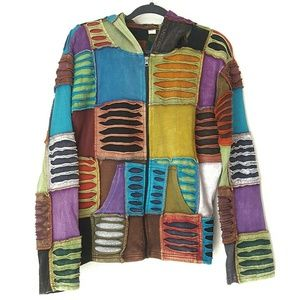 Rising International patchwork distressed hoodie